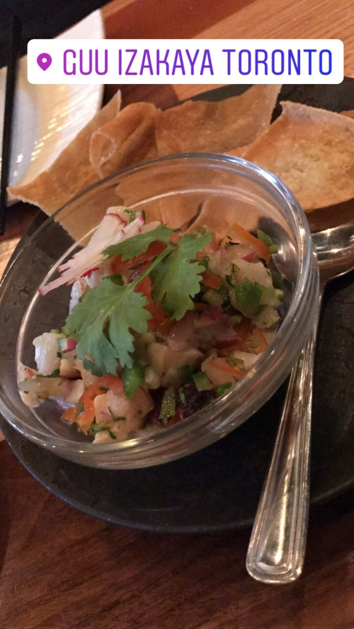 scallop & calamari ceviche with crispy chips