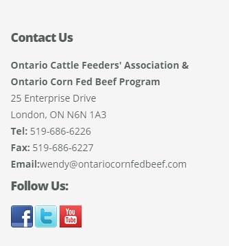 Ontario Corn Fed Beef on Social Media